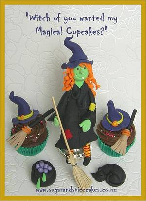 Witch Cake Topper with cupcakes - fondant  - Cake by Mel_SugarandSpiceCakes