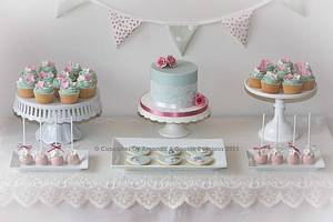 Vintage Dessert Table - Cake by Cupcakes by Amanda