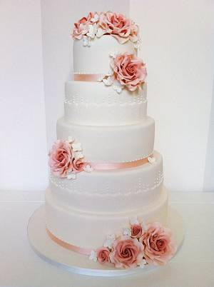 Roses and laces 5 tier Wedding Cake - Cake by Bella's Bakery