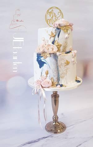 Blue and blush weddingcake  - Cake by Judith-JEtaarten