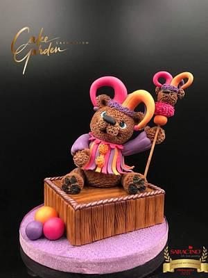 Harlequin bear, teddy bear Challenge  - Cake by Cake Garden