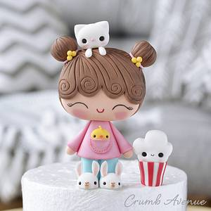 Cute Girl Cake Topper - Cake by Crumb Avenue