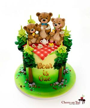 Little Bear's Tea Party 🐻🐻🐻🌲🌲🧁☕️🥪 - Cake by Cherry on Top Cakes