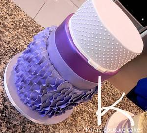 Purple Ruffles, Shine and Swiss Dots - Cake by Kara's Couture Cakes