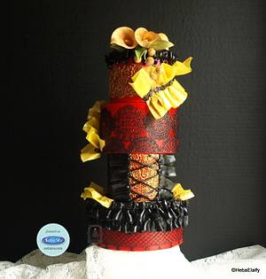 Couture Cakers Collaboration : Burlesque - Cake by Sweet Dreams by Heba