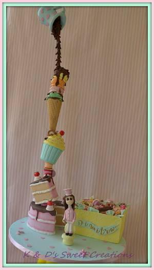 Gravity defying sweet treats tower cake!! - Cake by Konstantina - K & D's Sweet Creations