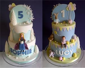 Sophie & Lucy's Half & Half Cake - Cake by CakeyCake