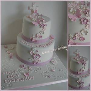Flower themed Communion Cake - Cake by It's a Cake Thing