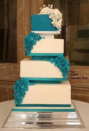 Teal Wedding cake - Cake by Amelia Rose Cake Studio