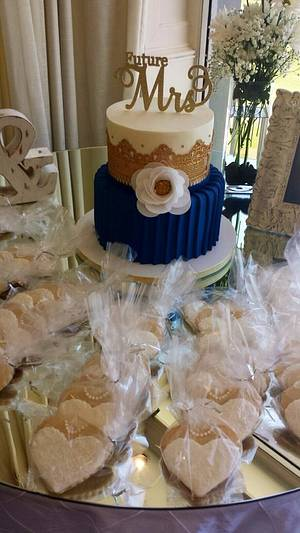 Navy & Gold Bridal Shower Cake - Cake by Sweets By Monica