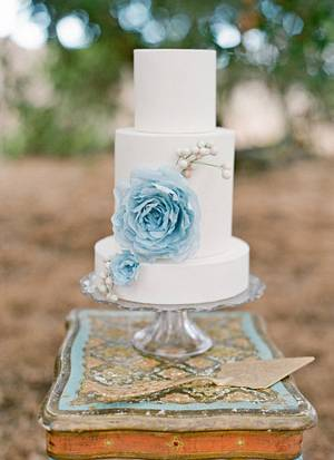 Baby Blue Wafer Paper Flower - Cake by Stevi Auble