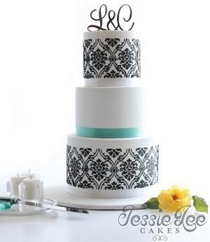 Damask Wedding Cake - Cake by Jessie lee cakes