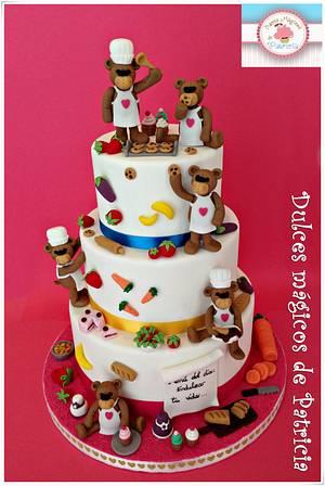 Teddy bear chef - Cake by Dulces Mágicos de Patricia