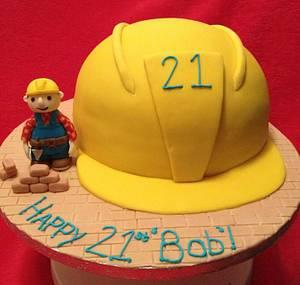 Bob the builder hard hat 21st birthday cake - Cake by Elspeth