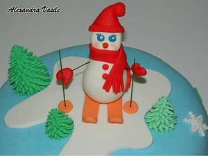 Snowman skiing - Cake by alexandravasile