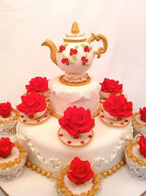 Teapot and Roses cake  - Cake by Elli Warren