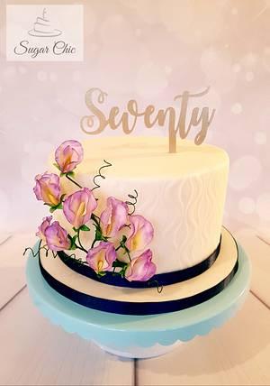 Sweet Pea 70th Birthday - Cake by Sugar Chic