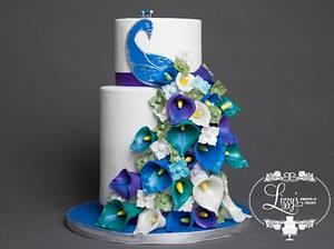 Peacock Themed Wedding cake - Cake by Elizabeth