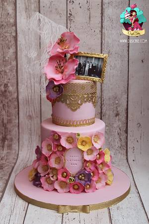 Pink, girly, flowers and lace xx - Cake by DusiCake