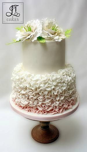 Peonies and ruffles Wedding cake - Cake by JT Cakes