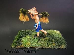 Farmer-Magnificent Bangladesh- an international Cake art collaboration - Cake by VanessaFontana