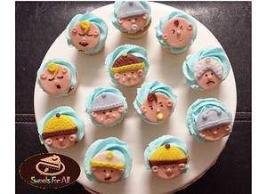 Baby Shower Boy Cupcakes with fondant toppers - Cake by sweetsforall