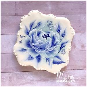 """Blue Rose. Floral cookie.  - Cake by Nadia """"My Little Bakery"""""""