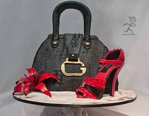 Crocodile Skin Guess Handbag with Pink Versace Ruffle Stiletto - Cake by Ciccio