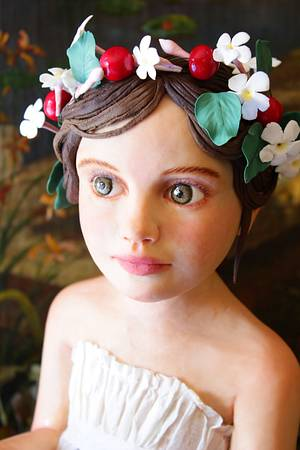 Little girl with swallow, jasmines and cherries - Cake by Marta Hidalgo
