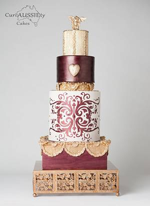 Burgundy and Gold fashion wedding cake - Cake by CuriAUSSIEty  Cakes