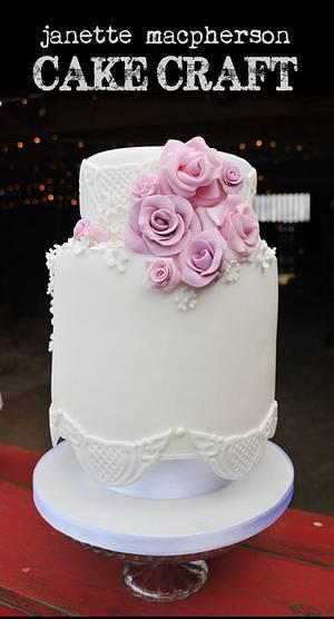 Vintage double barrel wedding cake - Cake by Janette MacPherson Cake Craft