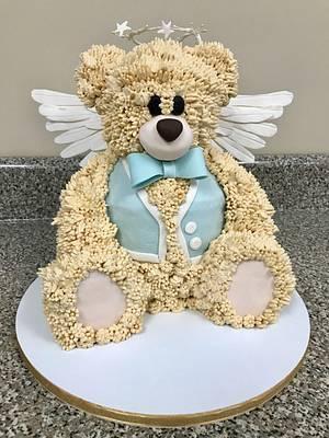 Heavenly Fuzz- Teddy Bear Baptism Cake - Cake by Chelsea Hott