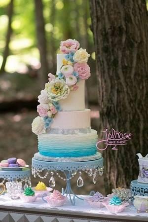 Ruffles and Flowers Wedding Cake - Cake by Jolirose Cake Shop
