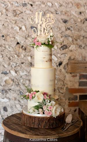 Semi naked tiered cake with fresh flowers and large topper - Cake by Kasserina Cakes