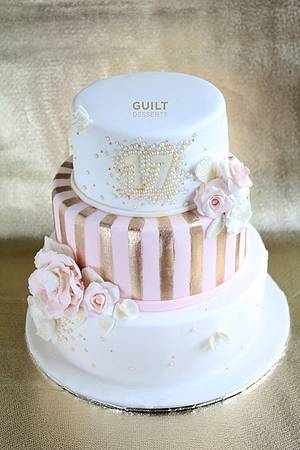 Pink, White and Gold - Cake by Guilt Desserts