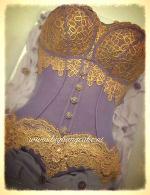 Purple with golden lace corset cake - Cake by KimsSweetyCakes