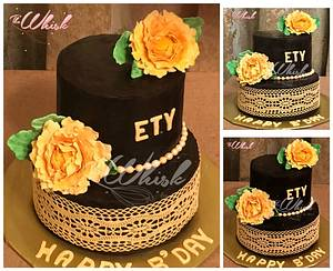Elegant lace and peonies cake  - Cake by TheWhiskByHema