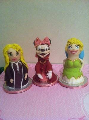 Disney Toppers made from styrofoam dolls - Cake by Flourbowl Cakes
