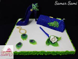 Peacock themed wedding clutch &shoes in the CPC International Women's Day Collaboration - Cake by Simo Bakery