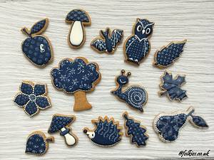 Autumn in blue print - Cake by Folkies