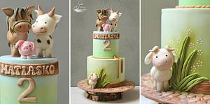 Farm animals  - Cake by Lorna