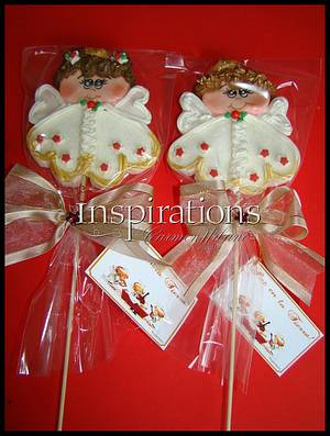 Christmas Angels Marsmallow lollipops - Cake by Inspiration by Carmen Urbano