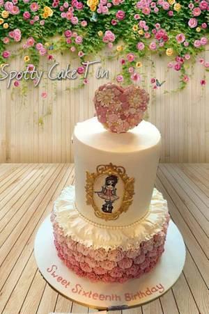 ruffle rose cake - Cake International Entry - Spring Birmingham 2016   - Cake by Shell at Spotty Cake Tin
