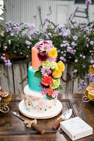 Hand-Painted Fresh Floral Wedding - Cake by Kendra's Country Bakery