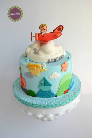 Flying Boy - Planes, Trains and Automobiles - Cake by miettes