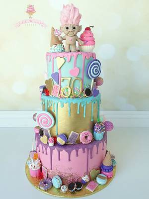 Colorful Chocolate Drip Candy and Sweets themed birthday cake - Cake by LittleHunnysCakery