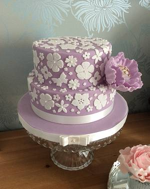 Purple Appliqué Cake - Cake by Gingers Cupcakes