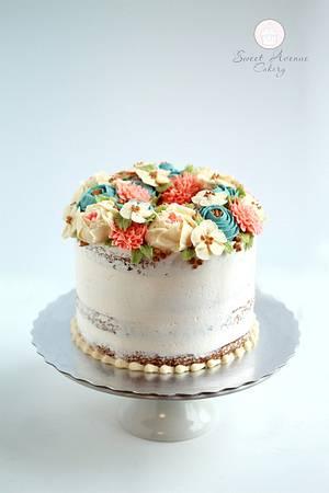 Buttercream Flowers Cake - Cake by Sweet Avenue Cakery