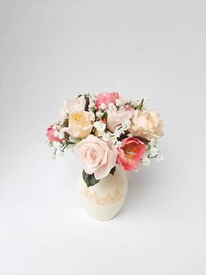 Sugar flower in a sugar vase - Cake by Szandra