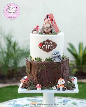 Woodland Critters Baby Shower Cake - Cake by Angela, SugarSweetCakes&Treats